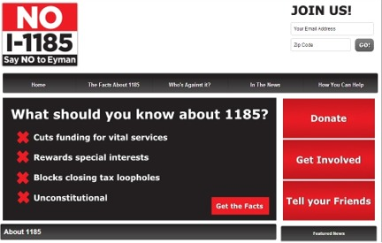 Campaign Website No on 1185