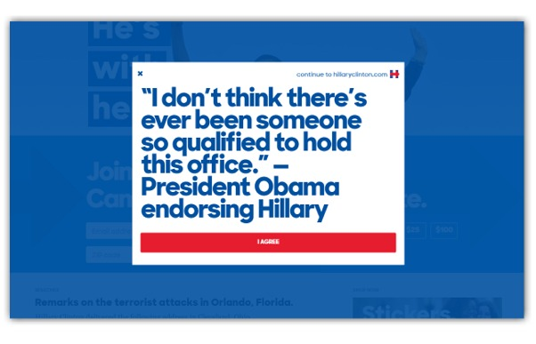 hillary clinton splash page